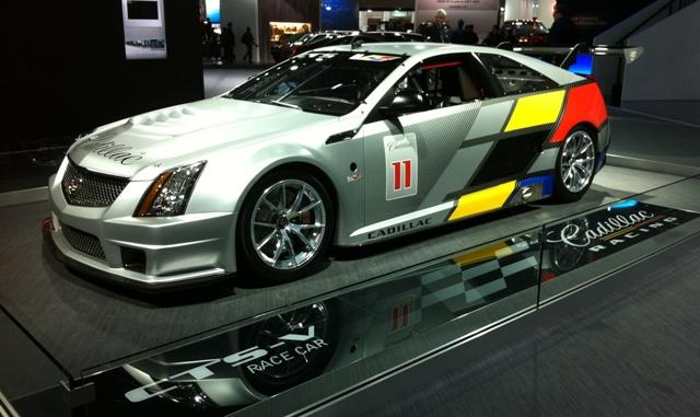 The Cadillac display at the auto show in Detroit includes this CTS-V race car.
