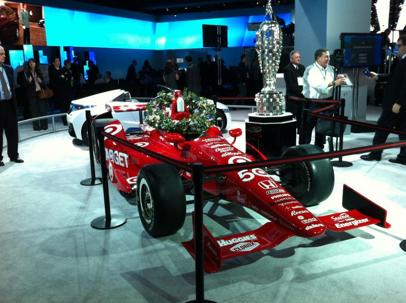 Dario Franchitti won the 96th Indy 500. The car and the race's famous Borg-Warner trophy were on display at the Detroit Auto Show.