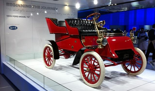 Not everything at the North American International Auto Show is new. The Ford exhibit includes the 1903 Model A.