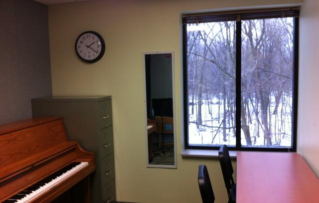 This rehearsal studio overlooks the Red Cedar River