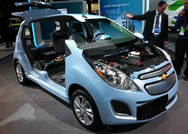 "The 2014 Chevy Spark EV will feature the promotional line ""pure electrical fun""."