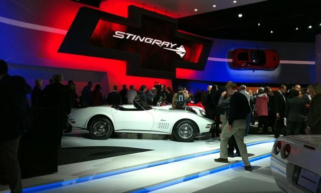 Chevrolet is bringing back the Stingray nameplate on the next generation of Corvettes. Note the car hanging on the wall.