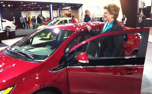 U.S. Senator Debbie Stabenow spent some time car shopping at the Detroit Auto Show. She checked out the Chevy Volt.