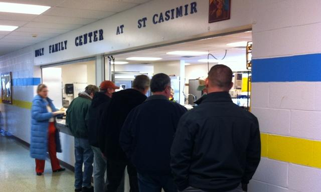 The food service line at St. Casimir