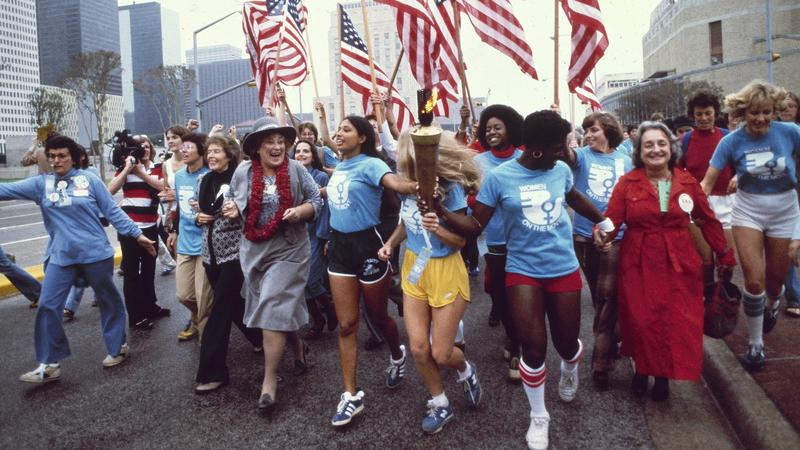 Women March at a Convention in 1977