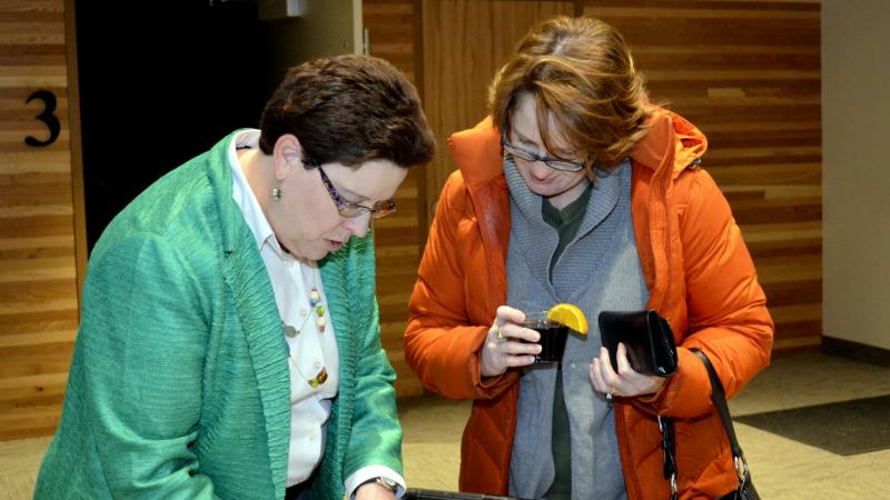 WKAR's Betsy Ruckert checks in a guest.