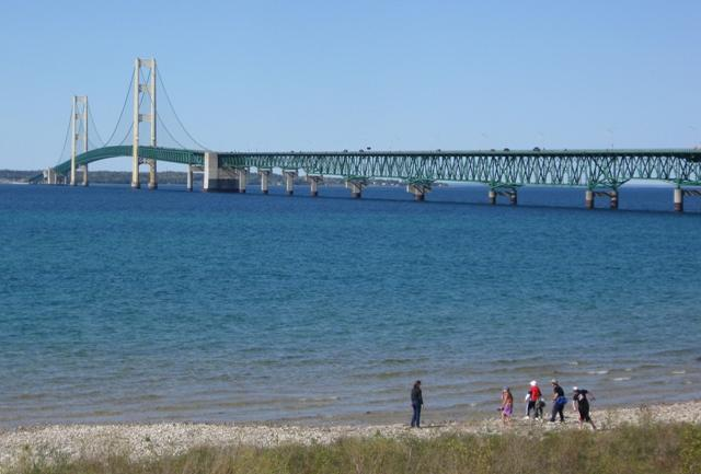 The Straits of Mackinac were a strategic trade route for French and native fur traders.  The region remains an important commercial shipping zone.