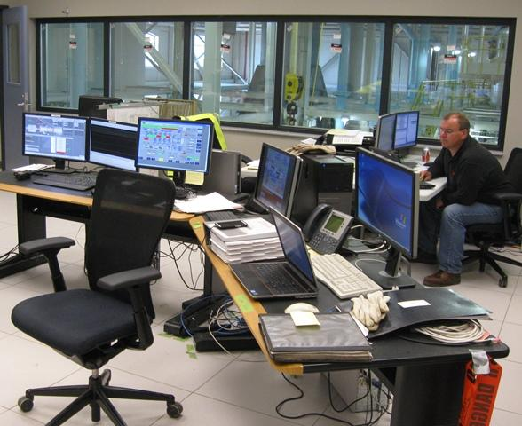 The control room is perched above the main floor.  Technicians can also monitor the BWL's chiller plant in downtown Lansing.