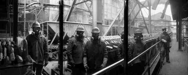 This triptych shows Peruvian foundry workers Zosimo Garcia Huayamates, Dionino Vergarey Macario, Leon Erasmo Hernandez, Hernan Churampi Solano, and Licodadio Grinio Huatta.