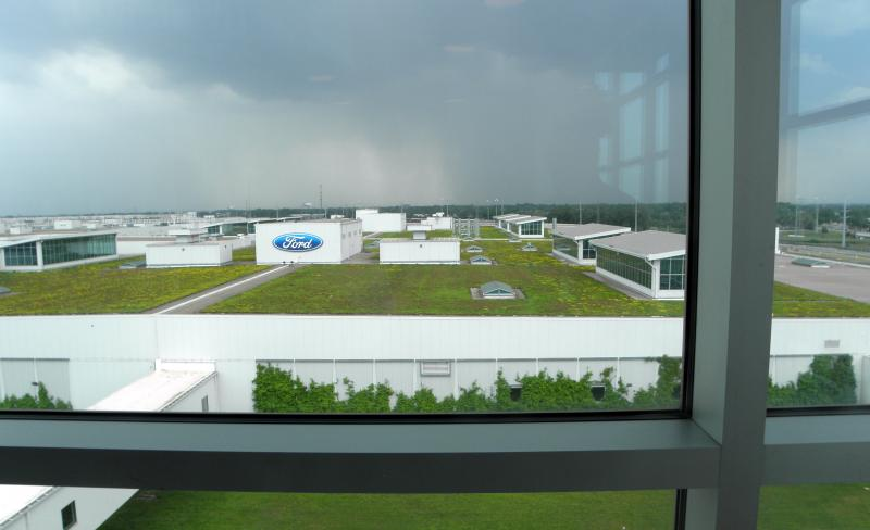 The living roof on Ford's sustainable truck assembly plant is large enough for a 9-hole golf course.