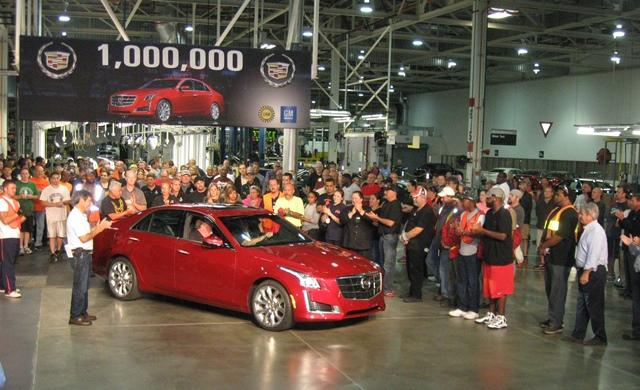 UAW Local 652 president Mike Green greets his team in the plant's millionth vehicle.