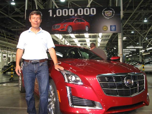 General Motors Lansing Plant Manager Tony Francavilla poses with LGR vehicle #1,000,000.