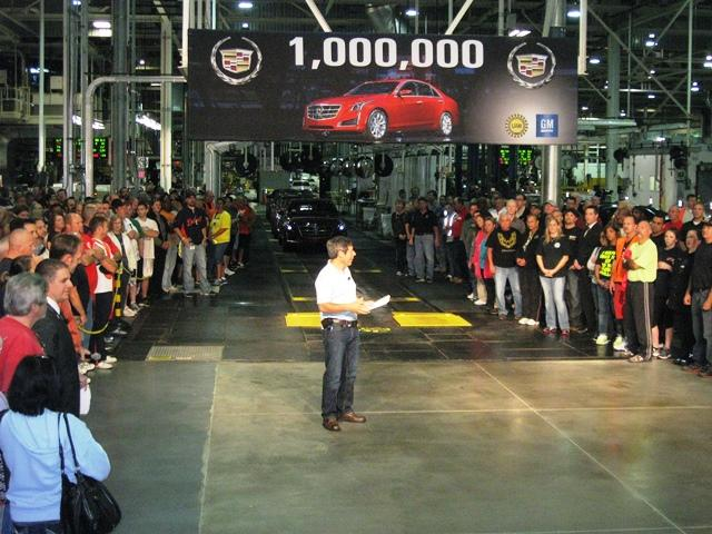 GM Plant Manager Tony Francavilla rallies workers at the Lansing Grand River Assembly Plant before rolling out the millionth vehicle made at the facility.