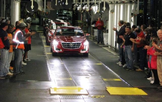The one millionth vehicle made at Lansing Grand River rolls off the assembly line.