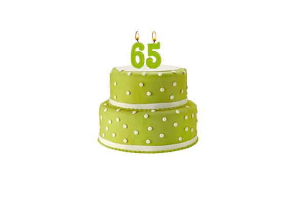 Birthday cake with '65' candles