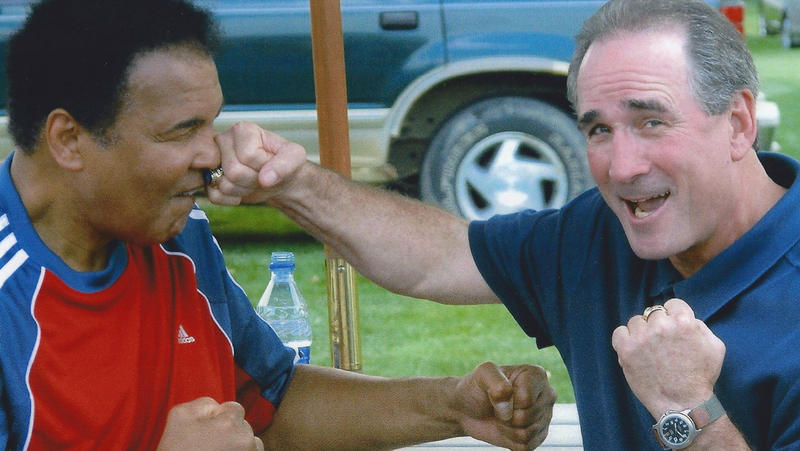 Two men in boxing poses