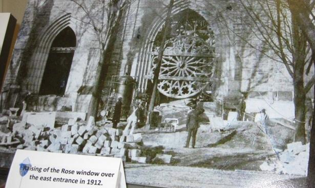 The cathedral's large rose window was installed sometime in 1912.
