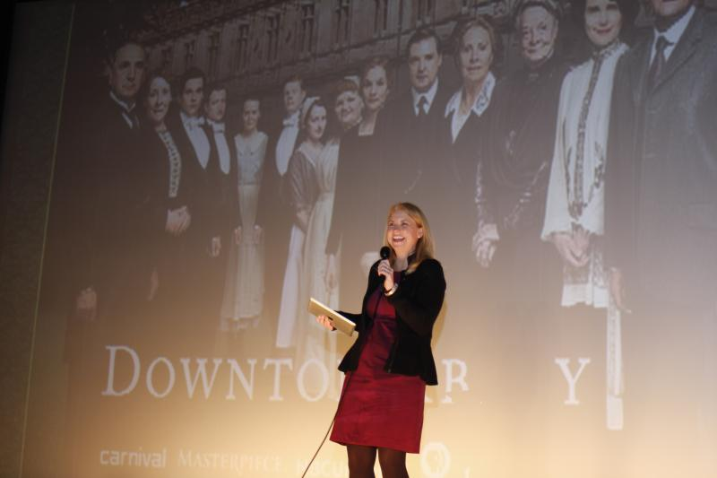 WKAR's Susi Elkins on stage at the Sun Theatre with the Downton Abbey cast