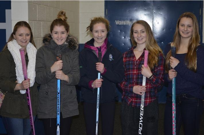 Chantal Mignault (Left), Bella Long, Sophie Long, Maggie Mindorff, Nicole Mignault of the London U19 team after the game.