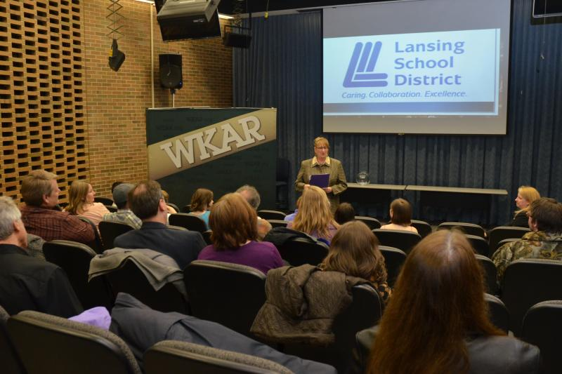 Lansing School District Superintendent Yvonne Caamal Canul speaks to guests.