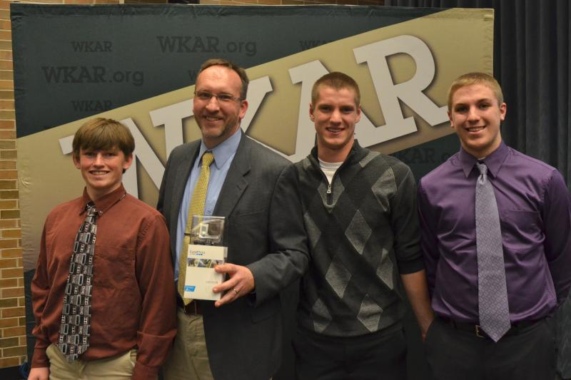 Homer High School Grand Prize winners. (l-r) Bradley, teacher Duane Sitkiewicz, Alex, Tyler.