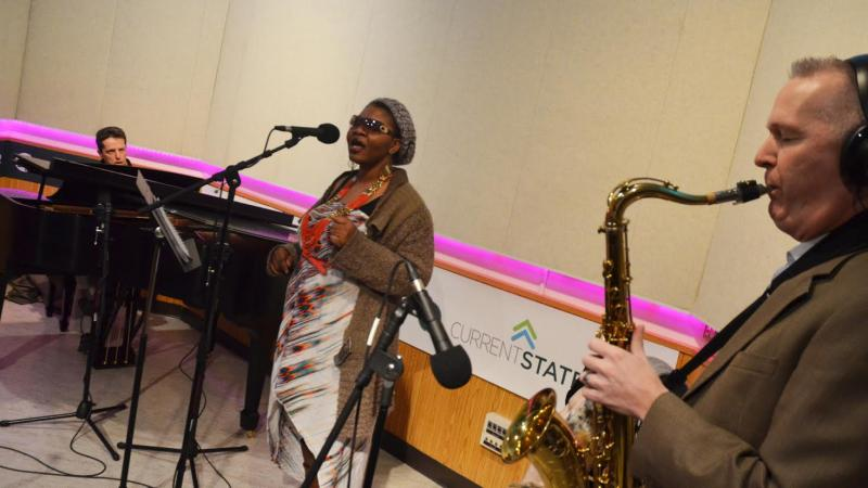Musicians performing in studio