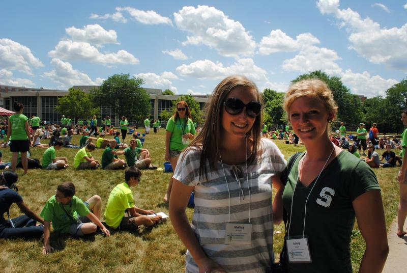 From left to right, Mel Strapec assists YAC advisor Ashley Gulker with the Youth Philanthropy and Service Camp held at Michigan State University this past summer.