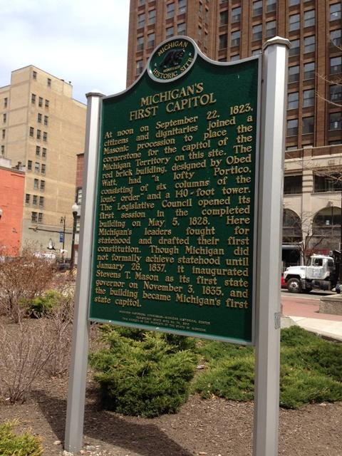 Michigan's first state capitol building was on this site.