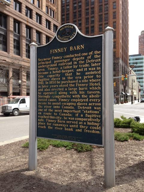 This historical marker commemorates the Finney Barn, an Underground Railroad site.
