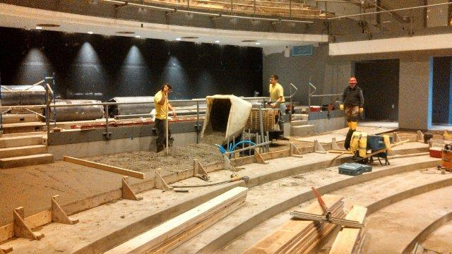 Laying the theatre floor.