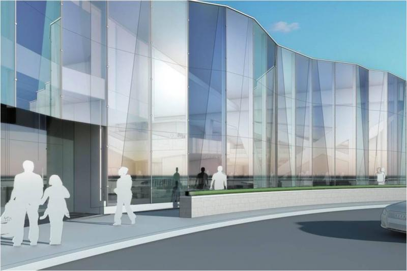 A rendering of the Gannon Building, as seen from Grand Avenue.