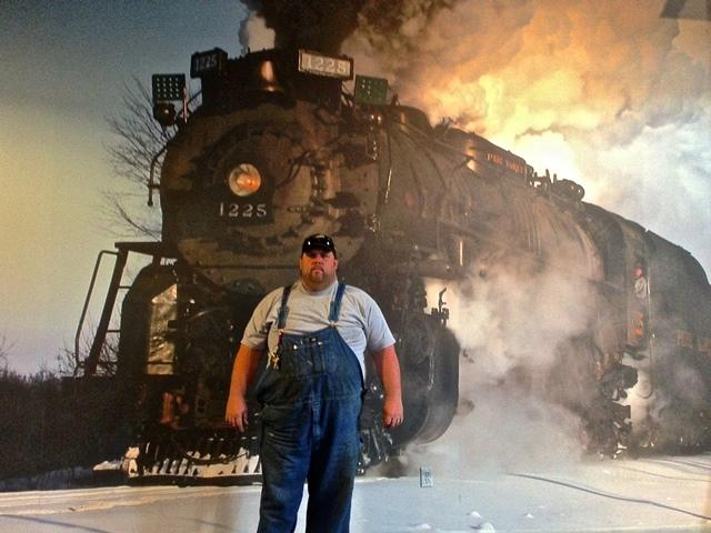 Kevin Mayer is director of operations and chief mechanical officer with the Steam Railroading Institute. This mural of the 1225 locomotive graces the interior of the museum.