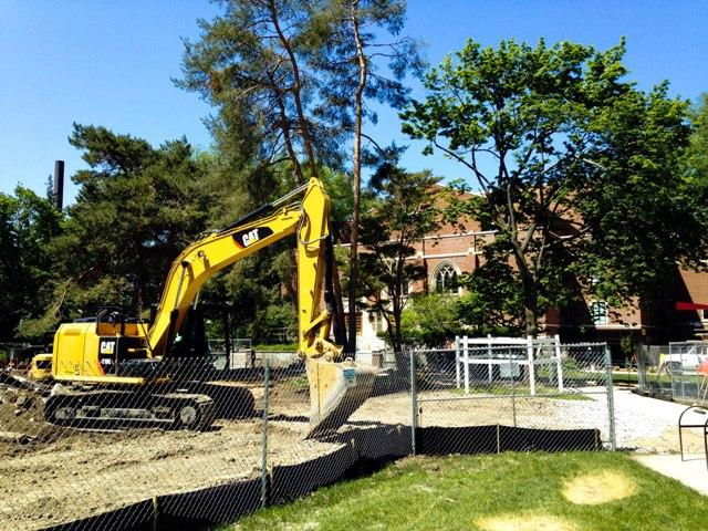 Construction has begun on a permanent setting for the Summer Circle Theatre, near MSU's Fairchild Theatre.