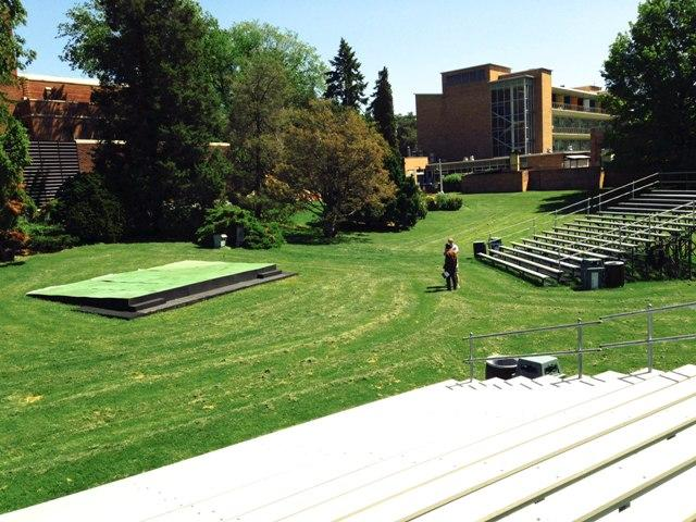 This year, the Summer Circle Theatre stage is between the MSU Auditorium and the Red Cedar River.