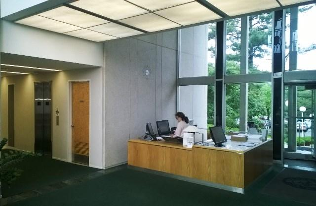The reception area of the Michigan State Medical Society building in East Lansing.
