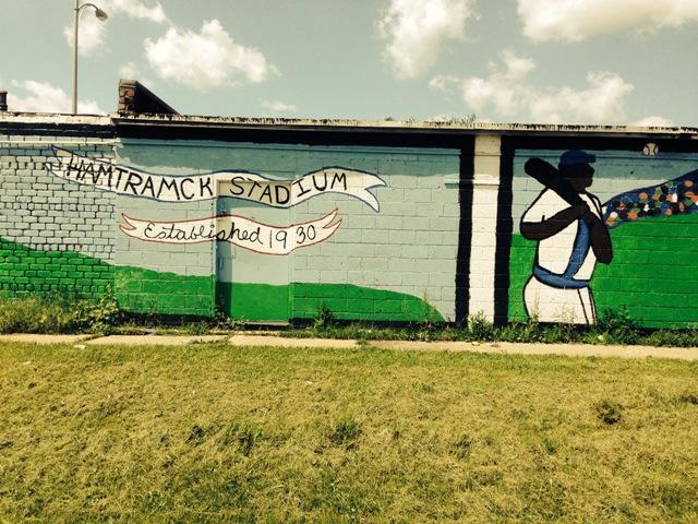 Murals adorn the cinder block walls at Hamtramck Park.