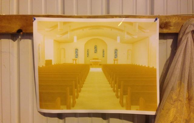 This rendering of the chapel's plans hangs on a wall in David Flint's pole barn.