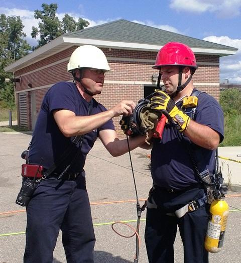 Rescue personnel working in tight spaces must have oxygen fed to them from the surface.