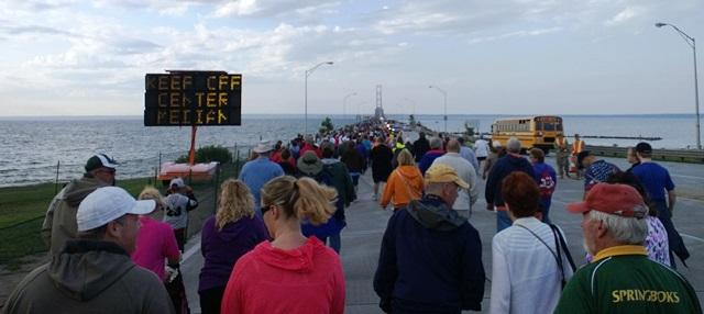 Thousands of people leave St. Ignace Monday morning to participate in the 57th annual Mackinac Bridge Walk.  Governor Rick Snyder led the procession.