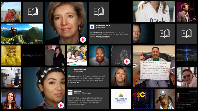 Collage of portraits of cancer storytellers