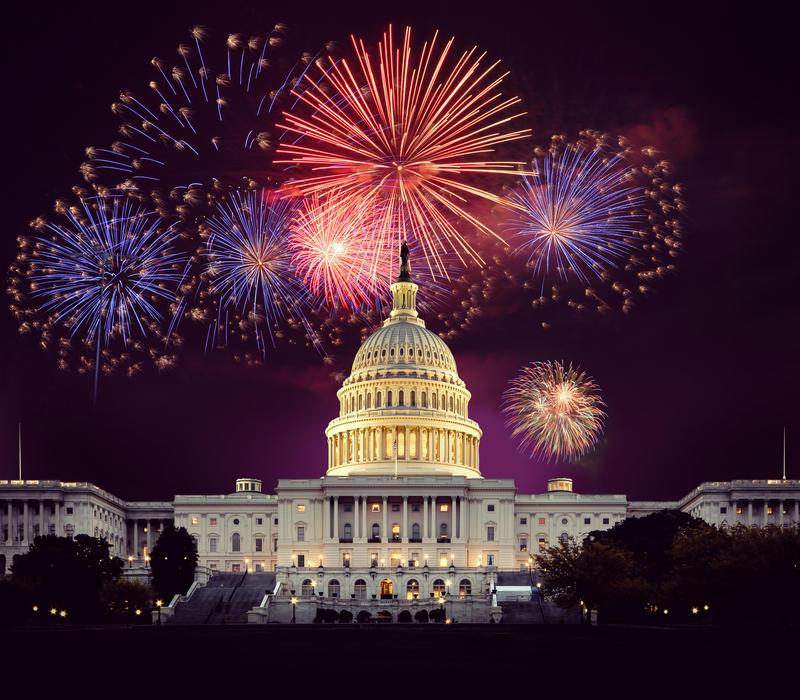 Fireworks over U.S. Capitol building