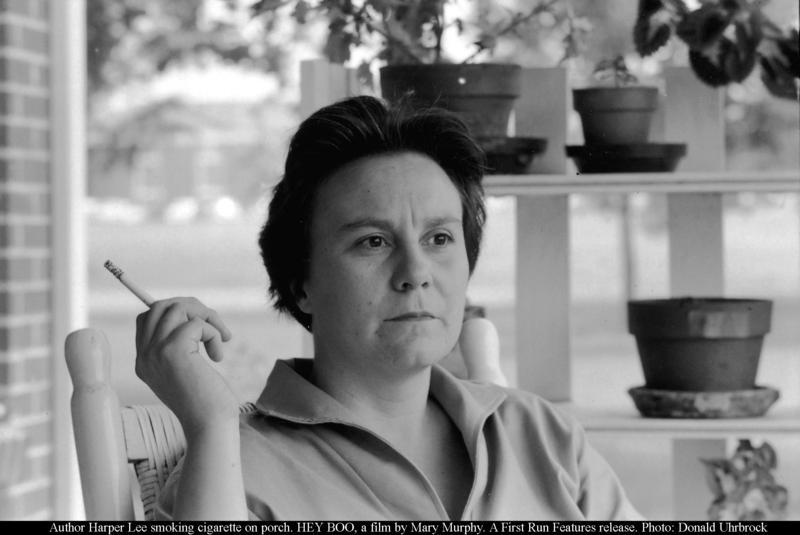 Harper Lee smoking cigarette on porch
