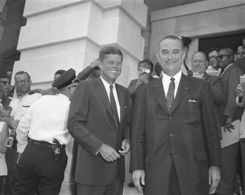 President John Fitzgerald Kennedy and Vice President Lyndon Baines Johnson.