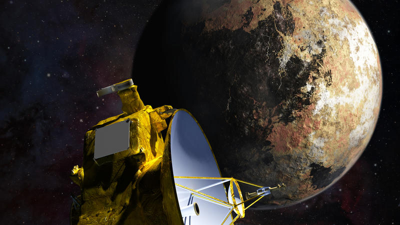 Artist's concept of the New Horizons spacecraft as it approaches Pluto and its largest moon, Charon, in July 2015.