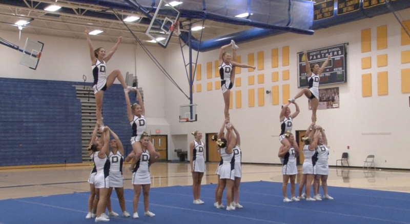 Cheerleading squad in gym