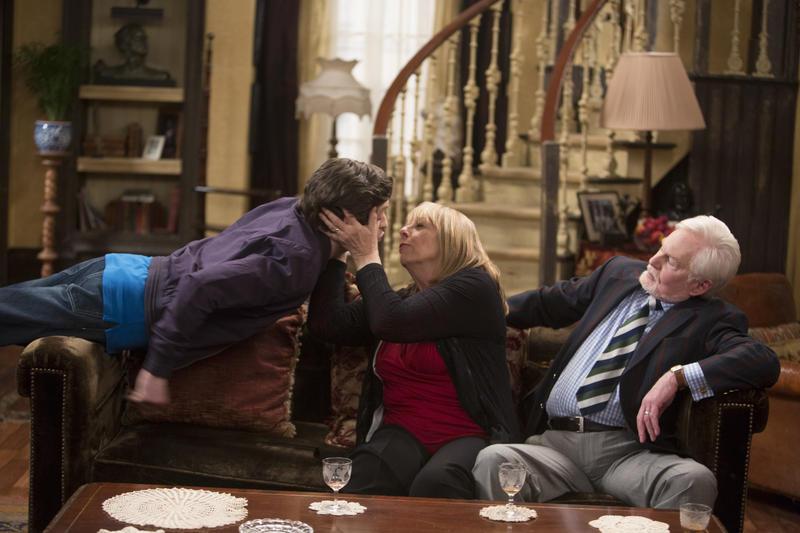 Violet (Frances de la Tour), Ash (Iwan Rheon) and Stuart (Derek Jacobi).