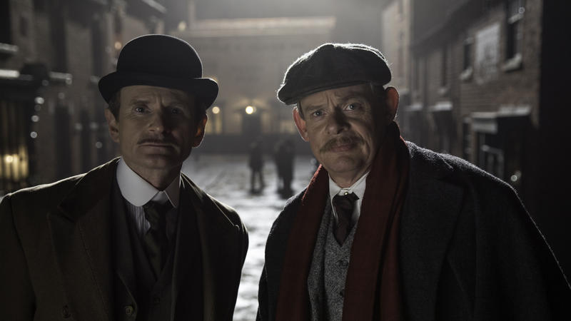 Shown from left to right: Charles Edwards as Alfred Wood and Martin Clunes as Sir Arthur Conan Doyle