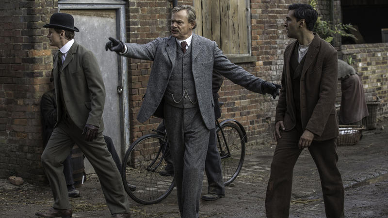 Shown from left to right: Charles Edwards as Alfred Wood, Martin Clunes as Sir Arthur Conan Doyle and Arsher Ali as George Edalji