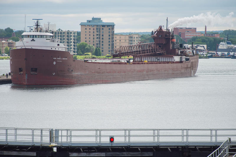 a picture of a freighter in the Sault St. Marie Locks