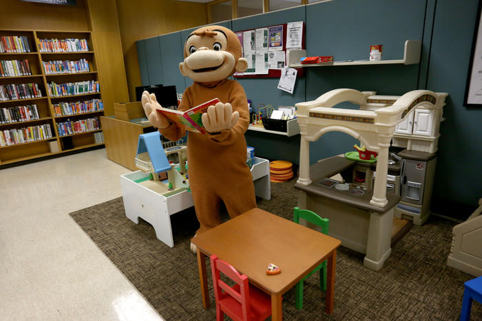 Curious George at the MSU Library